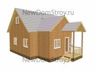 оригинальный деревянный дом с маленьким крыльцом