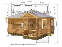 Баня 6х6 из бруса с шатровой крышей