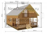 двухэтажная баня с балконом и террасой